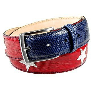 Stars and Stripes Patchwork Leather Belt - Manieri