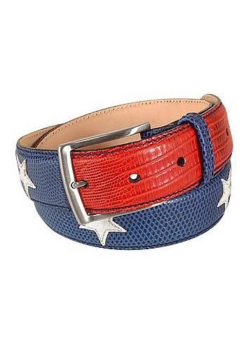 Stars and Stripes Patchwork Leather Belt - Manieri