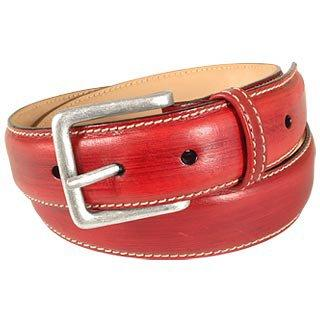 Red Smooth Leather Belt