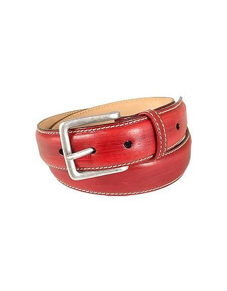 Foto Manieri Cintura in pelle rossa liscia Cinture Uomo