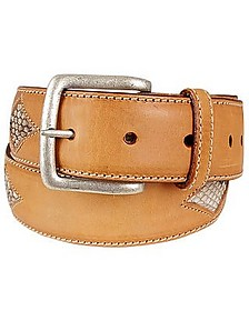 Snake Stamped Inserts Caramel Italian Leather Belt - Manieri