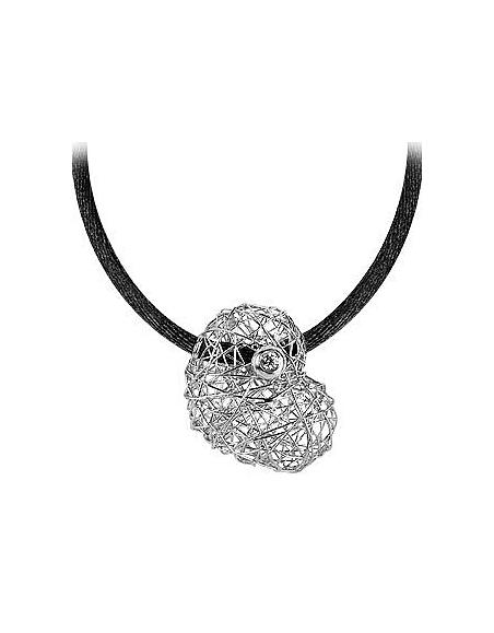 Orlando Orlandini Arianna - Pendentif coeur or blanc 750/1000 avec diamant