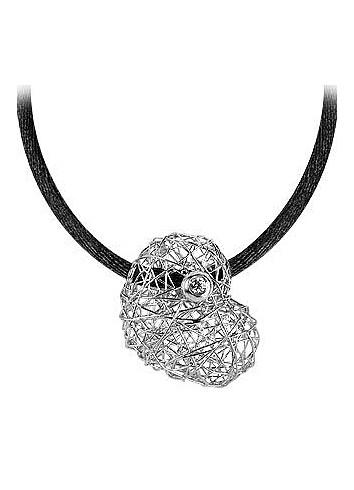 Arianna - 18K  White Gold Heart Pendant w/Diamond - Orlando Orlandini