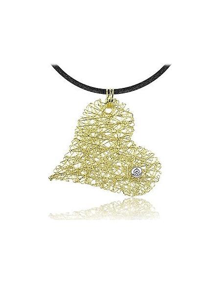 Orlando Orlandini Pendentif coeur or jaune 750/1000 avec diamant 0.05Ct et cordon