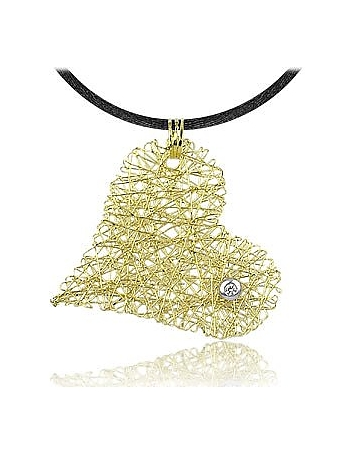 Orlando Orlandini - Diamond 18K Yellow Gold Heart Pendant w/Lace
