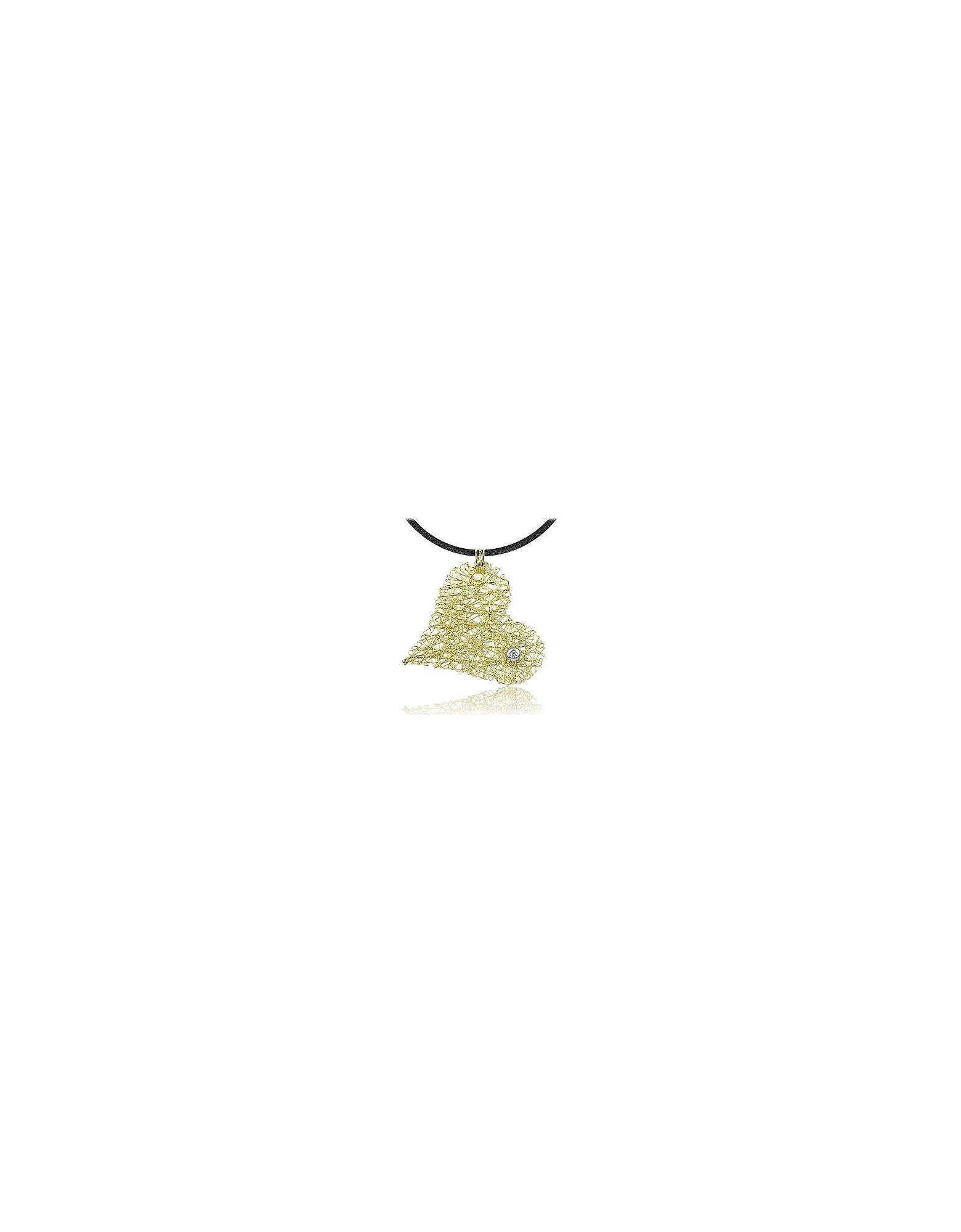 Orlando Orlandini Necklaces, Diamond 18K Yellow Gold Heart Pendant w/Lace