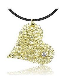 Herzanhänger aus 18k Gelbgold mit Diamant und Band - Orlando Orlandini