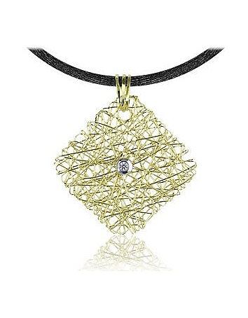 Orlando Orlandini - Central Diamond 18K Yellow Gold Pendant w/Lace