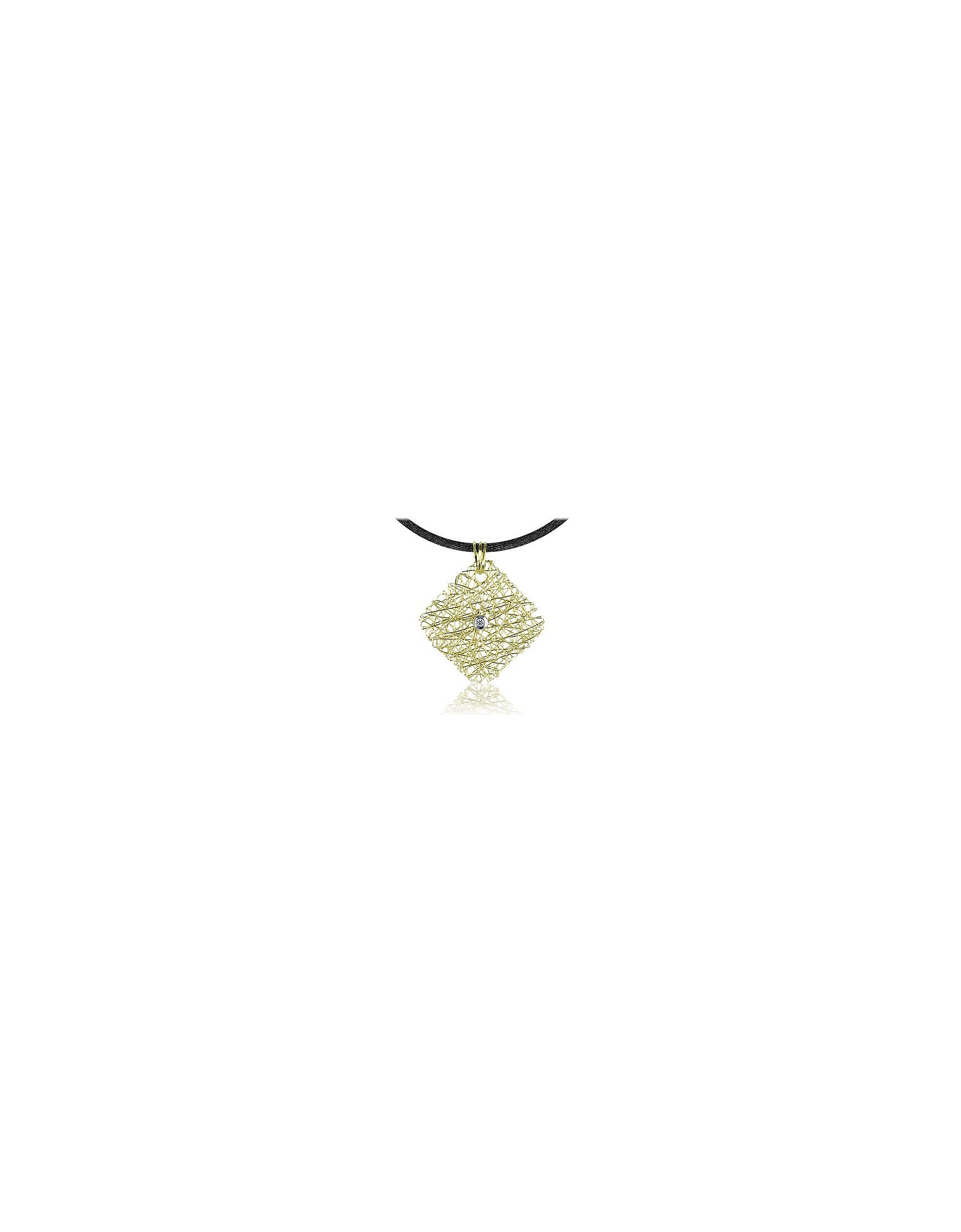 Orlando Orlandini Necklaces, Central Diamond 18K Yellow Gold Pendant w/Lace