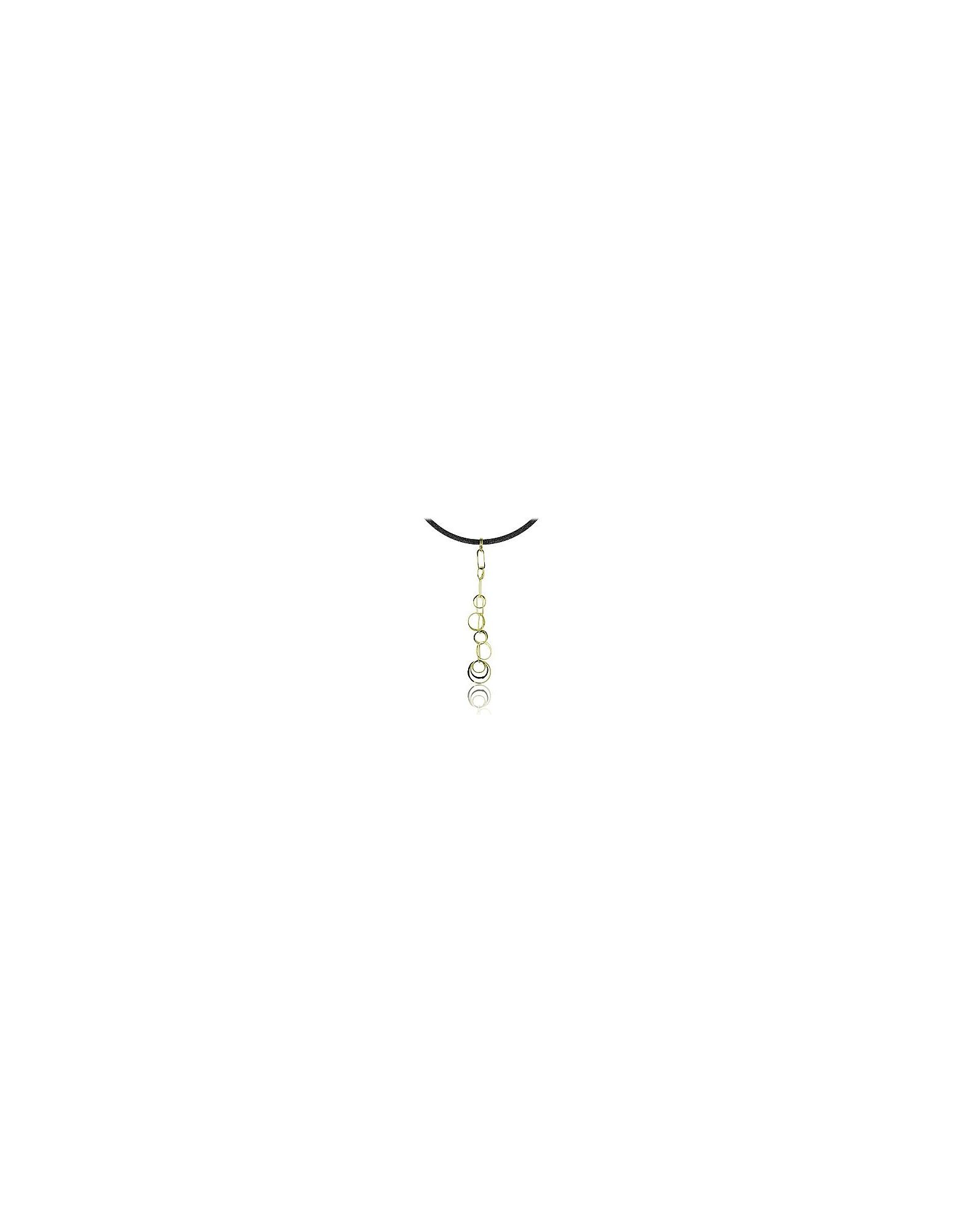Orlando Orlandini Necklaces, Star - 18K Gold Circles Drop Pendant w/Lace