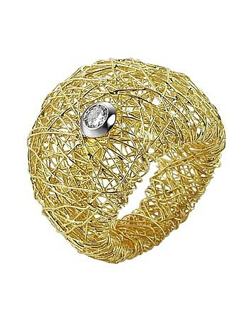Arianna - 18K Gold Wide Ring w/ Round Diamond