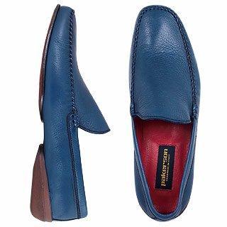 Forzieri DE Pakerson Blaue handgefertigte italienischer Loafer-Schuhe aus Leder