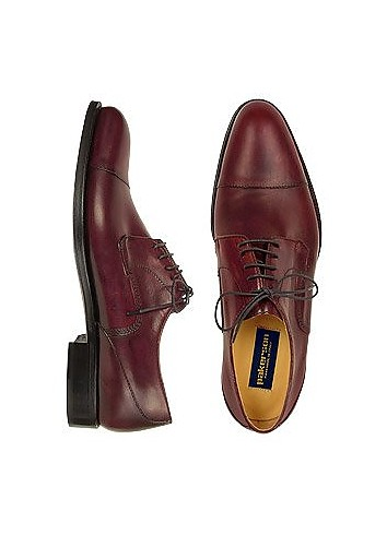 Dark Red Italian Hand Made Calf Leather Oxford Shoes - Pakerson