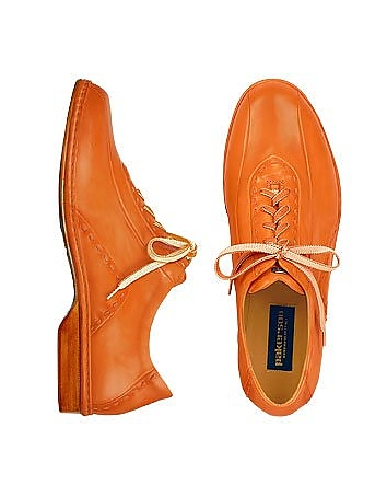Pakerson - Orange Italian Hand Made Calf Leather Lace-up Shoes