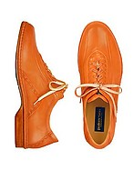 Lux-ID 206478 Orange Italian Hand Made Calf Leather Lace-up Shoes