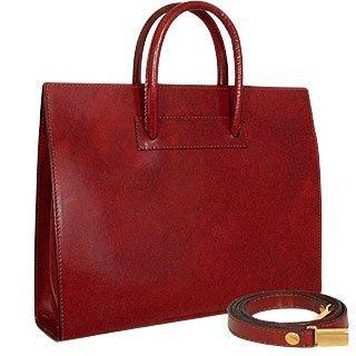 Pratesi  Ladies' Polished Dark Brown Leather Classic Handbag