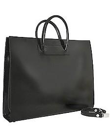 Klassische polierte Damen-Aktentasche aus schwarzem Leder - Pratesi