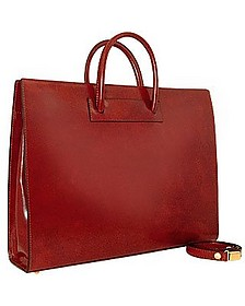Klassische polierte Damen-Aktentasche aus braunem Leder - Pratesi