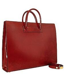 Ladies' Polished Dark Brown Leather Classic Briefcase - Pratesi