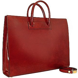 Ladies' Polished Dark Brown Leather Classic Briefcase - Pratesi