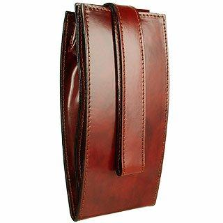 Pratesi Folding Dark Brown Leather Thin Bottle Holder