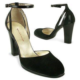 Quai D'Orsay Chaussures escarpins � bout rond et boucle cheville en daim noir qo43315-008-02
