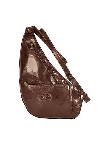 Brown Flat Sling Leather Backpack - Robe di Firenze