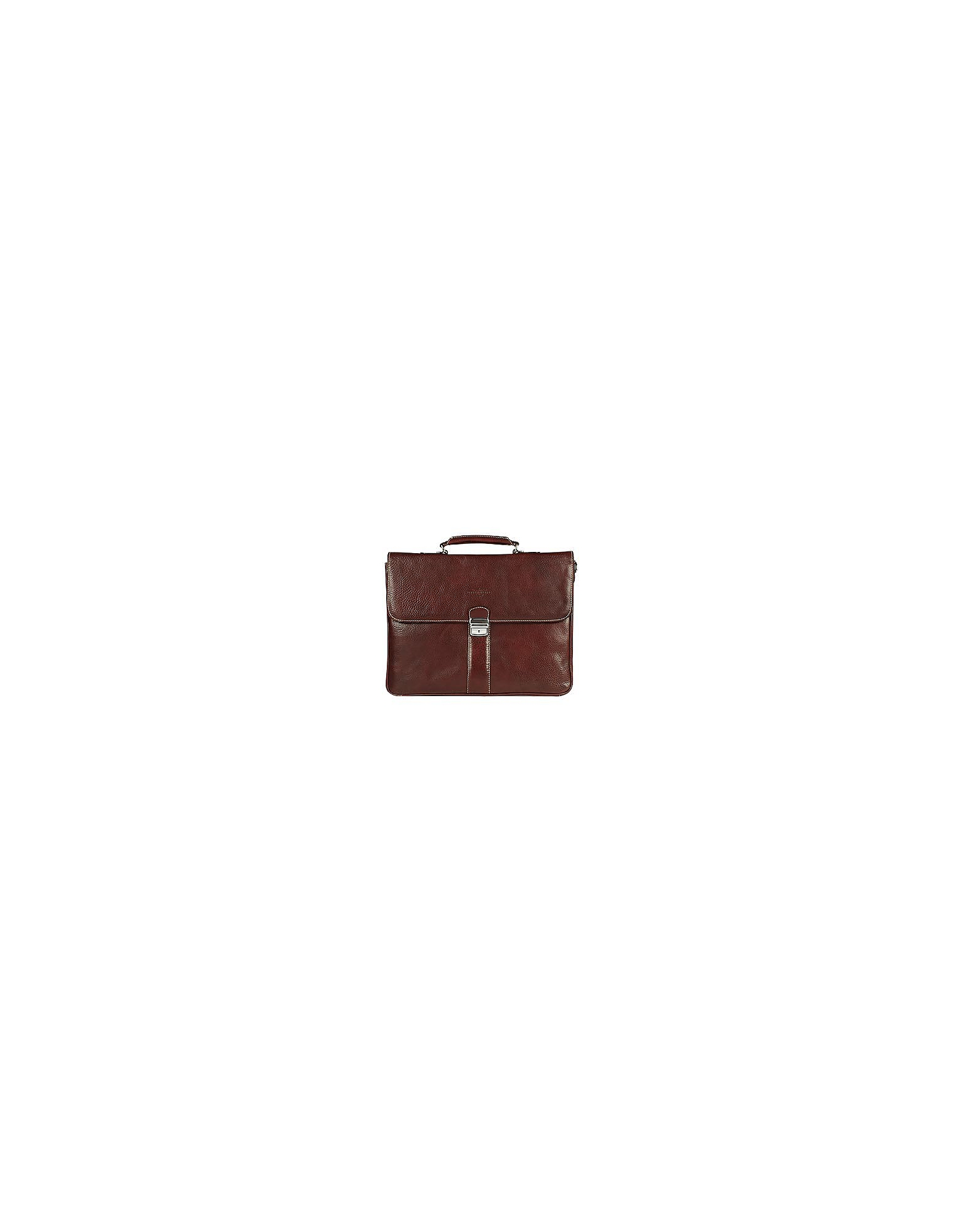 Robe di Firenze Briefcases, Dark Brown Double Gusset Leather Briefcase