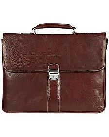 Dark Brown Double Gusset Leather Briefcase - Robe di Firenze