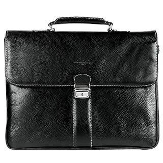 Robe Di Firenze  Black Double Gusset Leather Briefcase