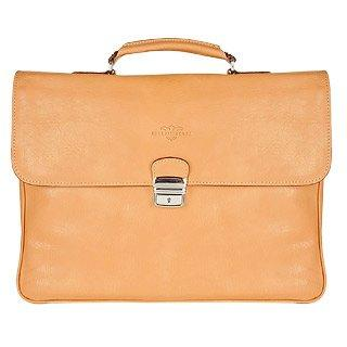 Robe di Firenze Men's Sand Double-Gusset Soft Leather Briefcase