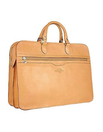 Women's Sand Double-Gusset Soft Leather Briefcase