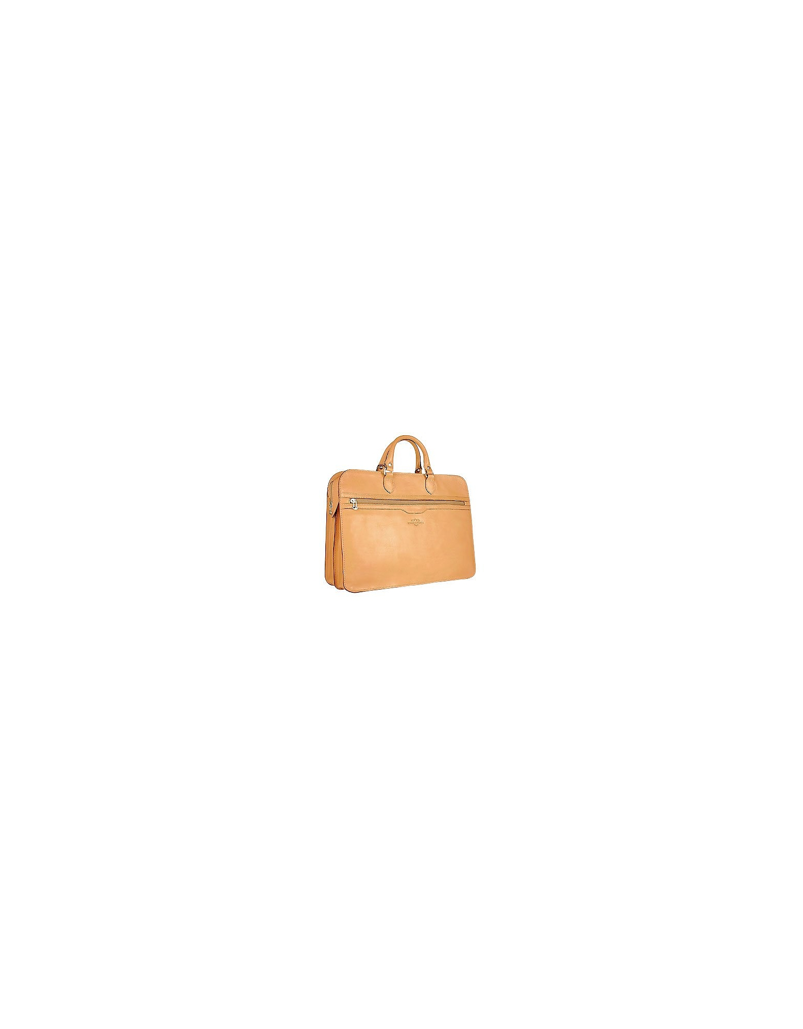 Robe di Firenze Designer Briefcases,  Women's Sand Double-Gusset Soft Leather Briefcase