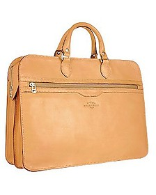 Women's Sand Double-Gusset Soft Leather Briefcase - Robe di Firenze