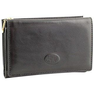Robe Di Firenze  Ladies' Black Leather Trifold ID Wallet