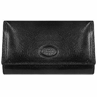 Black Sleek Leather Flap Wallet - Robe di Firenze