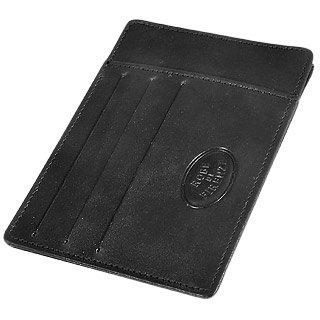 Robe di Firenze Card and ID Black Leather Holder