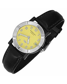 Parsifal W1 - Women's Yellow Stainless Steel & Leather Date Watch  - Raymond Weil