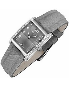 Don Giovanni - Diamond Frame & Satin Gray Band Dress Watch - Raymond Weil