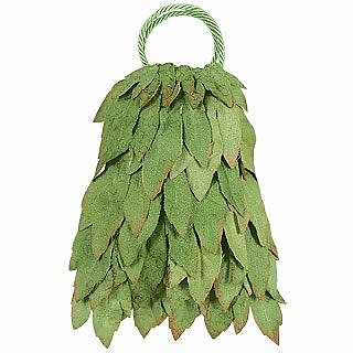 Handmade Green Leaves Appliqué Handbag - Sogni D'Arte