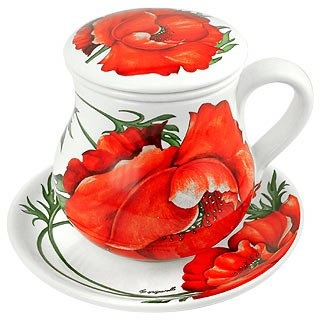 Spigarelli Poppy Ceramic Cup with Tea/Herb Filter :  floral designer forzieri italy