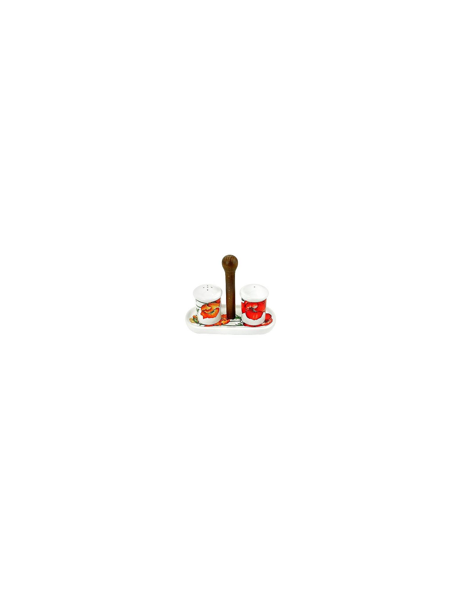 Image of Spigarelli Designer Kitchen & Dining, Poppy Ceramic Salt and Pepper Shaker w/Support