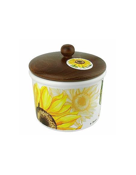 Spigarelli Plätzchendose aus Keramik Holzdeckel mit Sonnenblumendekoration