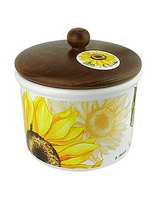 Sunflower Ceramic Cookie Jar w/Wooden Lid - Spigarelli