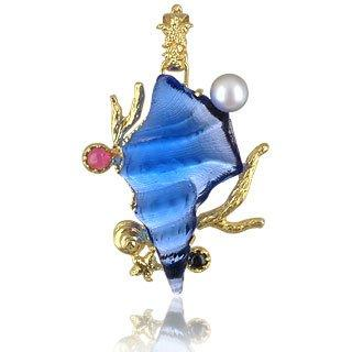 Marina Collection - Blue Seashell Tourmaline & 18K Gold Pendant