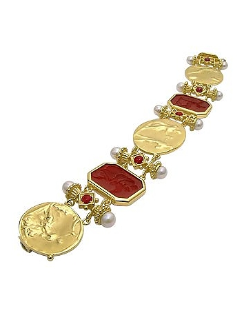 Classics Collection - 18K Gold and Ruby Link Bracelet