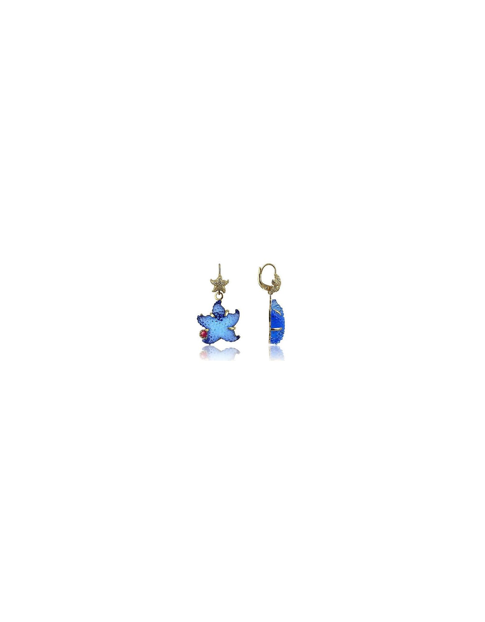 Tagliamonte Earrings, Marina Collection - Blue Starfish Rubie & 18K Gold Earrings