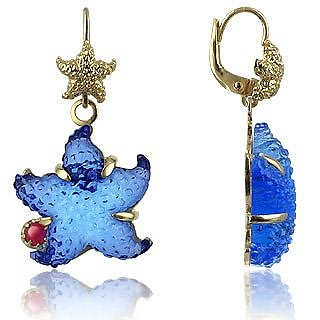 Marina Collection - Blue Starfish Rubie & 18K Gold Earrings - Tagliamonte