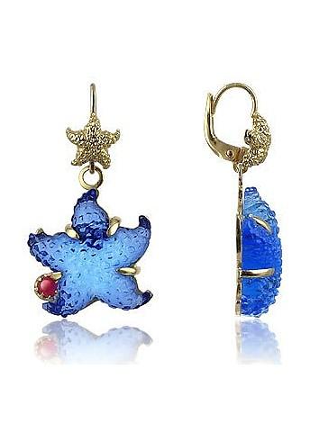 Marina Collection - Blue Starfish Rubie & 18K Gold Earrings - Tagliamonte