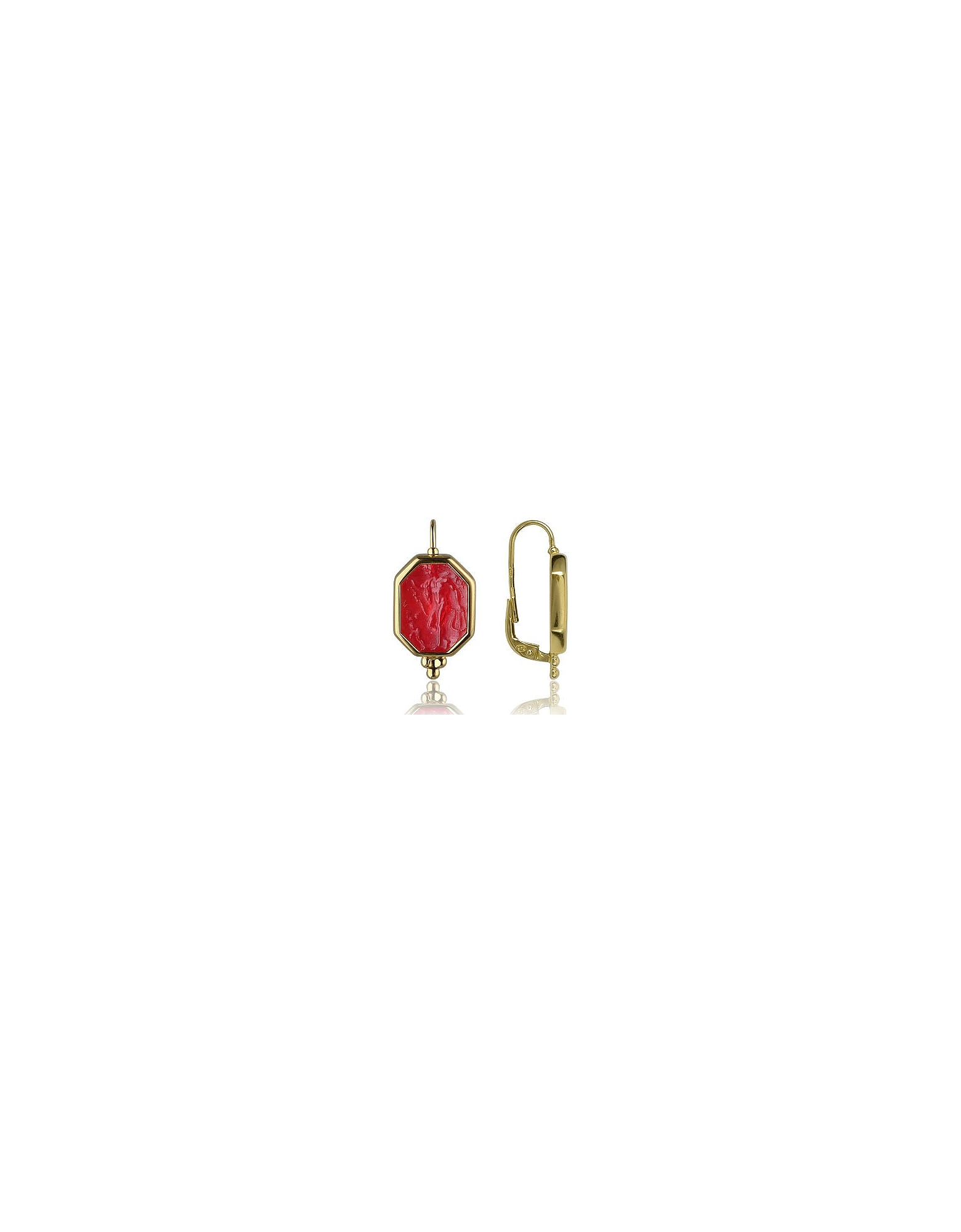Tagliamonte Earrings, Classics Collection - Red 18K Gold Drop Earrings